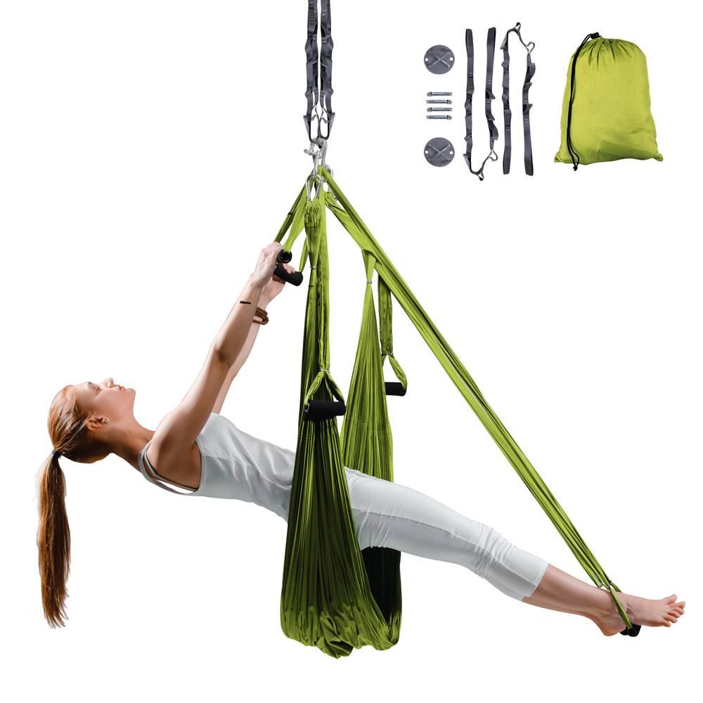 Insportline Popruhy na aero jogu inSPORTline Hemmok zelené s držiakmi a lanami